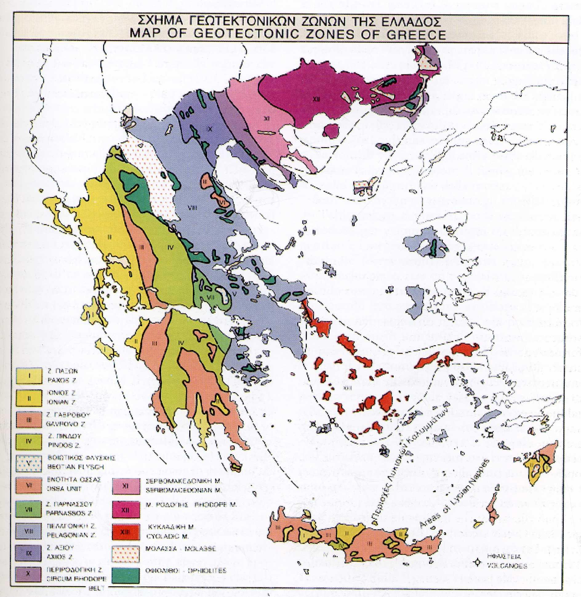 Mappa geotettonica della Grecia